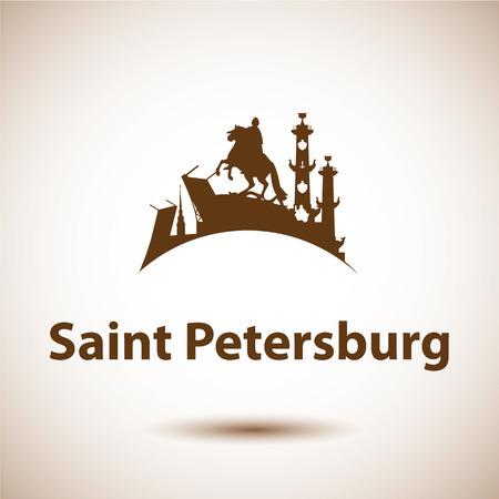 サンクトペテルブルクのベクトル シルエット。青銅色の騎手、ピーターとポールの要塞、吻側列サンクトペテルブルク、ロシア連邦のシンボル