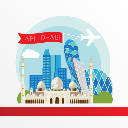 Abu Dabhi detailed silhouette. Trendy vector illustration, flat style. Stylish colorful landmarks. The concept for a web banner. Sheikh Zayed Mosque - The symbol of United Arab Emirates