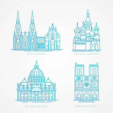 basilica: Linear icion set. World famous cathedral. Landmarks of europe.. Cologne Cathedral, Notre Dame de Paris Cathedral St. Peter Basilica, St. Basil Cathedral,