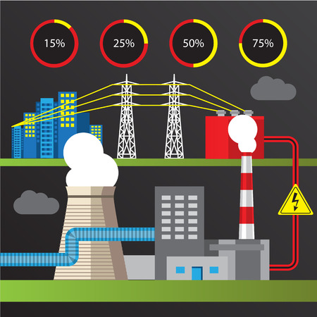 plc: Thermal power station. Colorful illustration in a flat style. City infographics set. All types of power stations. System with transmission tower and generator and Cooling tower Illustration