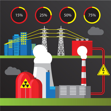 reactor: Nuclear power plant. Colorful illustration in a flat style. City infographics set. All types of power stations. System with transmission tower, nuclear reactor and Cooling tower Illustration