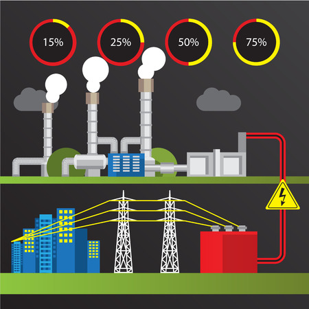 steam turbine: Geothermal power station Colorful illustration in a flat style. City infographics set. All types of power stations. System with turbine, condenser, separator and generator