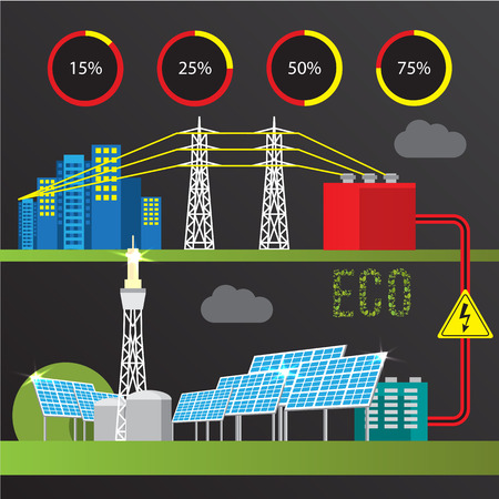 power generator: Concentrated solar power station. Colorful illustration in a flat style. City infographics set. All types of power stations. System with Concentrator photovoltaics, electrical power generator and Solar power tower Illustration