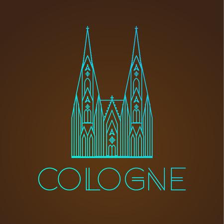 Der weltberühmte Kölner Dom. Größte Sehenswürdigkeiten von Europa .. Linear-Vektor-Symbol für Köln Deutschland. Reisen sighn Vektorgrafik