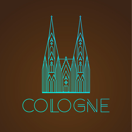 dom: World famous Cologne cathedral. Greatest Landmarks of europe.. Linear vector icon for Koln Germany. Travel sighn