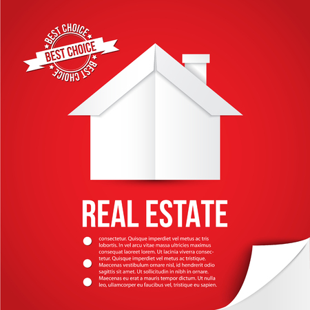 immovable property: White paper house on red background. Concept for corporate identity or web banner. Minimalist style. Flip the page as bonus element. Illustration