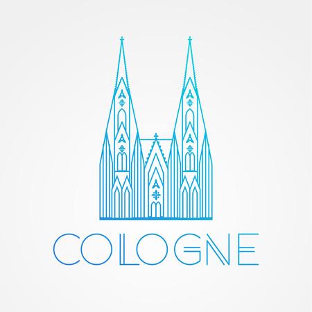 Der weltberühmte Kölner Dom. Größte Sehenswürdigkeiten von Europa .. Linear-Vektor-Symbol für Köln Deutschland. Minimalist eine Zeile Reise Zeichen Vektorgrafik