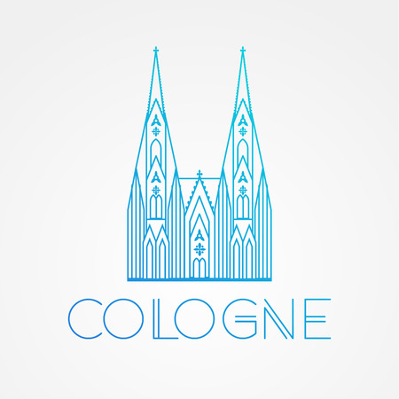 dom: World famous Cologne cathedral. Greatest Landmarks of europe.. Linear vector icon for Koln Germany. Minimalist one line travel sign Illustration