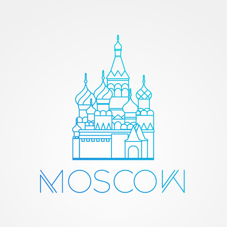 st  basil: World famous St. Basil Cathedral. Greatest Landmarks of europe.. Linear vector icon for Moscow Russia. Minimalist one line travel sign Illustration