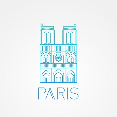 Wereldberoemde Notre Dame de Paris. Greatest Landmarks of europe ... Lineaire vector pictogram voor Parijs Frankrijk. Minimalistisch uithangbord met één regel Stockfoto - 59848360