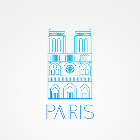 dame: World famous Notre Dame de Paris. Greatest Landmarks of europe.. Linear vector icon for Paris France. Minimalist one line travel sign Illustration