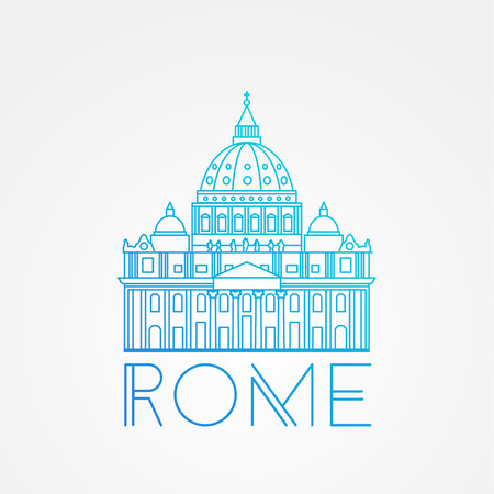 basilica: World famous St. Peter Basilica Greatest Landmarks of europe.. Linear vector icon for Vatican Rome Italy. Minimalist one line travel sign