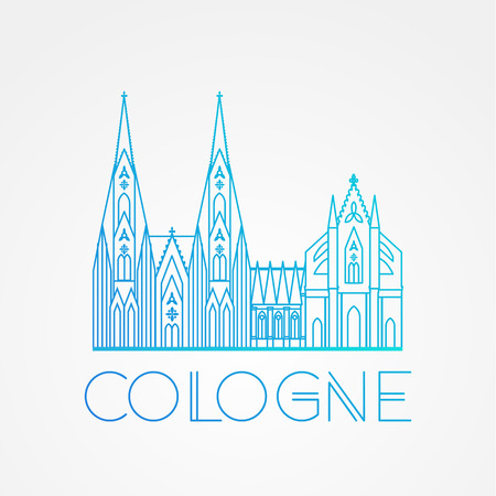 cologne: World famous Cologne cathedral. Greatest Landmarks of europe.. Linear vector icon for Koln Germany. Travel sign