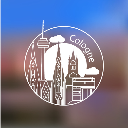 cologne: Koln vector linear  . Trendy stylish landmarks. One line style. Great St. Martin Church, Cologne Cathedral the symbol of Cologne, Germany. Illustration