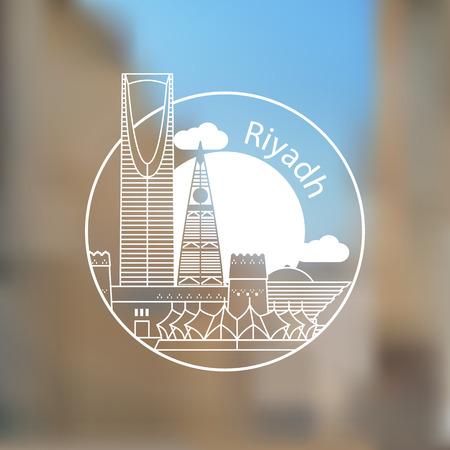 Riyadh vector linear  . Trendy stylish landmarks. One line style. Masmak Fortress and Kingdom tower - The symbol of Riyadh, Saudi Arabia