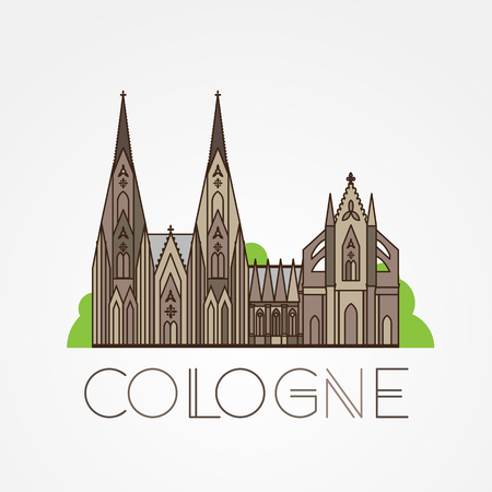 dom: World famous Cologne cathedral. Greatest Landmarks of europe. Linear icon for Koln Germany.