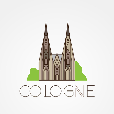 cologne: World famous Cologne cathedral. Greatest Landmarks of europe. Linear icon for Koln Germany.