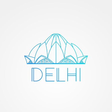 lotus temple: World famous Lotus Temple. Greatest Landmarks of Asia. Linear modern style vector icon symbol of New Delhi, India. Illustration
