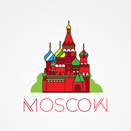 moscow russia: World famous St. Basil Cathedral. Greatest Landmarks of europe. Linear icon for Moscow Russia.