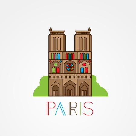 facade building: World famous Notre Dame de Paris. Greatest Landmarks of europe. Linear icon for Paris France. Illustration