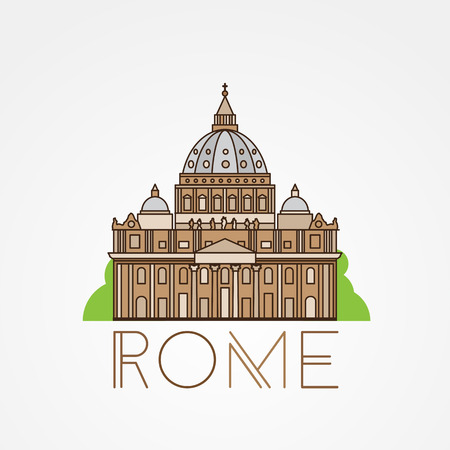 World famous St. Peter Basilica Greatest Landmarks of europe. Linear icon for Vatican Rome Italy.