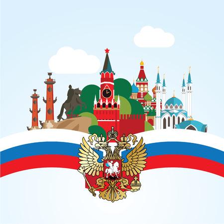 Rusland Landmark. Biggiest steden Moskou en Sint-Petersburg Kazan. Stel voor reizen infographics. Vector Illustratie