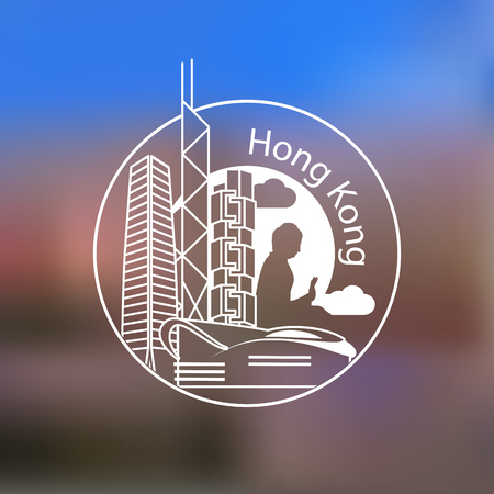 building silhouette: Hong Kong detailed one line stamp . Trendy vector illustration, Linear landmarks. Illustration