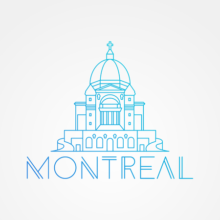 montreal: Saint Joseph Oratory in Montreal Canada. Modern linear icon. One line sightseeing concept