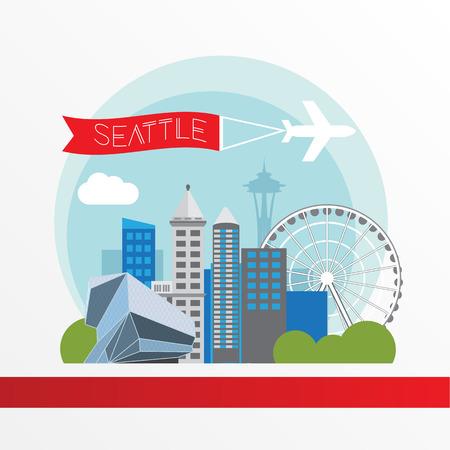 シアトルの詳細なシルエット。トレンディなベクトル図、フラット スタイル。スタイリッシュなカラフルなランドマーク。スペース ニードル、ワシ