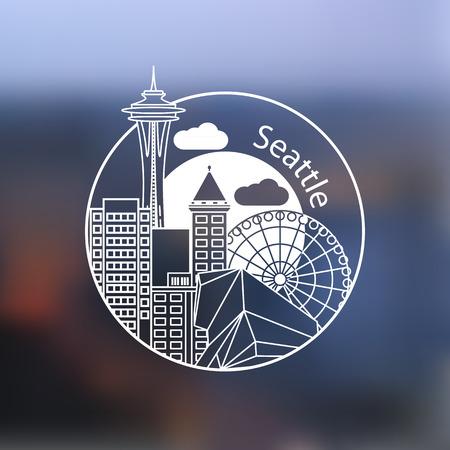 シアトル アメリカ詳細 1行スタンプです。トレンディなベクトル図、線形のランドマーク。