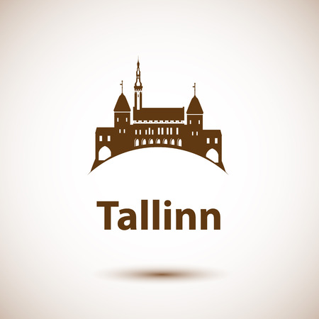 Tallinn skyline - vector illustratie. Flat moderne stijl.