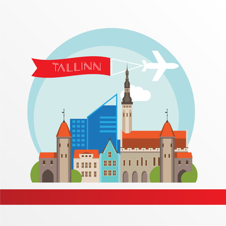 Tallin Estonia detailed silhouette. Trendy vector illustration, flat style. Stylish colorful landmarks. The concept for a web banner. 일러스트