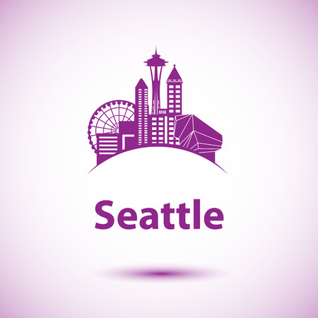 washington state: Seattle detailed silhouette. Trendy vector illustration, flat style. Space Needle the symbol of USA, Washington state Illustration