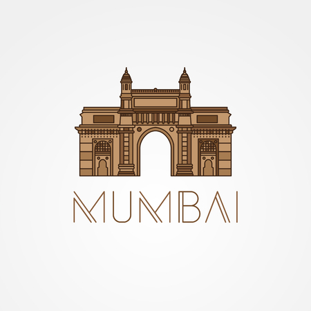 World famous Gate to India. Greatest Landmarks of Asia. Linear modern style vector icon symbol of India, Mumbai. Colorful variation.