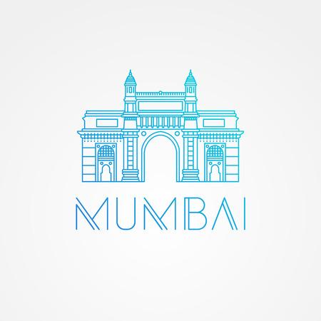 mumbai: World famous Gate to India. Greatest Landmarks of Asia. Linear modern style vector icon symbol of India, Mumbai.