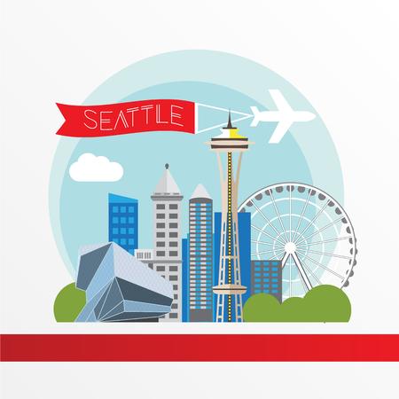 washington state: Seattle detailed silhouette. Trendy vector illustration, flat style. Stylish colorful landmarks. Space Needle the symbol of USA, Washington state