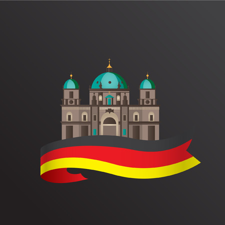 evangelical: Berlin Cathedral, Germany. Front view. Vector flat minimalist icon of German.