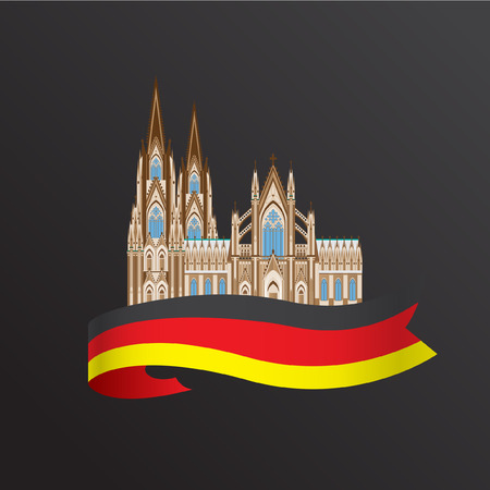 abbey: World famous Cologne cathedral. Greatest Landmarks of europe.. Linear vector icon for Koln Germany. Minimalist one line travel sign Illustration