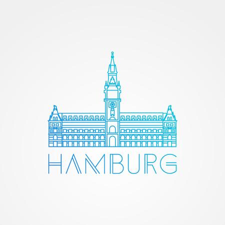 hamburg: Hamburg City Hall Germany. Front view. Vector one line minimalist icon of German.
