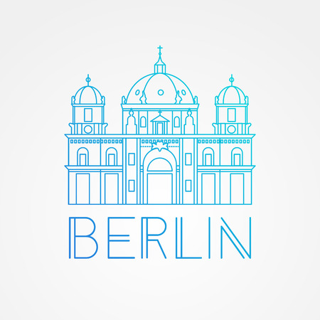 germanic: Vector one line minimalist icon of German. Berlin Cathedral, Germany. Front view. Illustration
