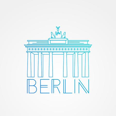 brandenburg: Vector one line minimalist icon of German. Brandenburg Gate in Berlin , Germany. Front view.