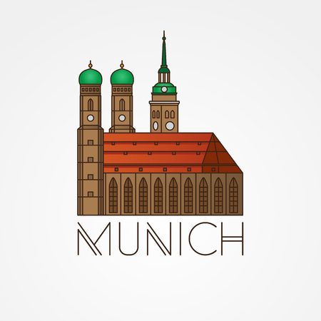 Vector Linear icon of German Towers of Frauenkirche Cathedral Church in Munich Munchen , Germany. Front view.
