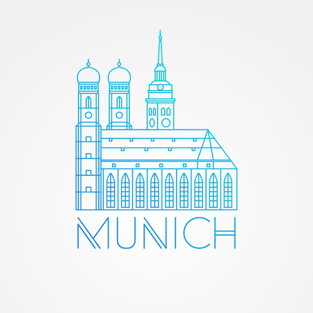 headquarter: Vector one line minimalist icon of German. Towers of Frauenkirche Cathedral Church in Munich Munchen , Germany. Front view.