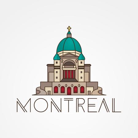 oratoria: Oratorio de San José en Montreal, Canadá. icono lineal moderna. concepto de turismo una línea Vectores