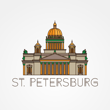 Saint Isaacs Cathedral in Saint Petersburg Russia. Modern linear minimalist icon. One line sightseeing concept