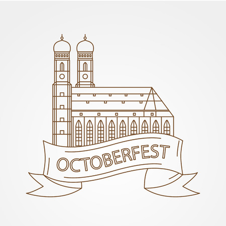 Vector Linear icon of German Towers of Frauenkirche Cathedral Church in Munich Munchen , Germany. The symbol of the Oktoberfest Front view. Illustration
