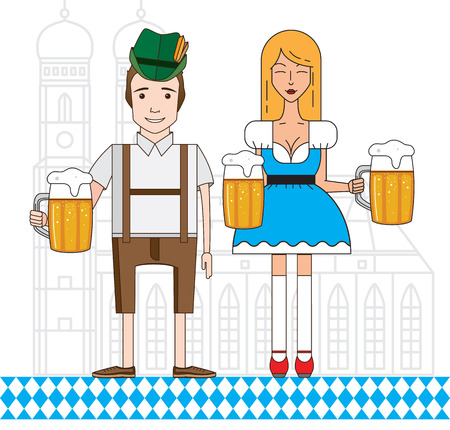 bavarian girl: The symbol of the Oktoberfest in Munich, Germany. Linear icon with cute Bavarian boy and girl dressed in traditional costume Illustration