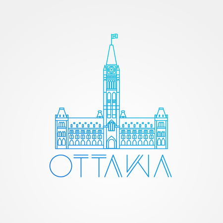 ottawa: City hall. Vector Ottawa Canada landmark. Modern linear minimalist icon. One line sightseeing concept. Front view.
