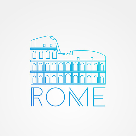 colosseo: Vector one line minimalist icon of Coliseum. Rome. Italy. linear style.