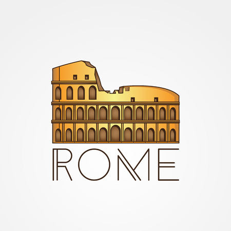 Vector one line minimalist icon of Coliseum. Rome. Italy. linear style.